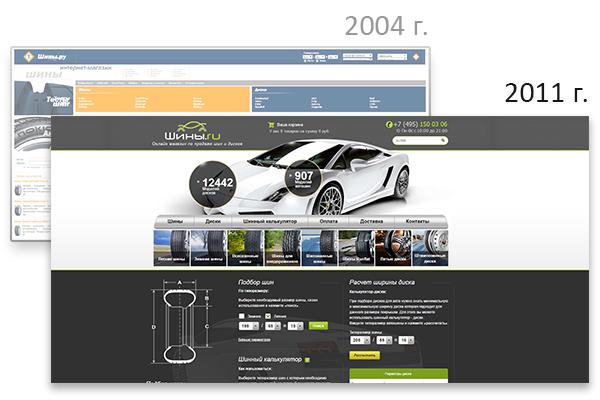 Старый и новый дизайны сайта Шины.ру
