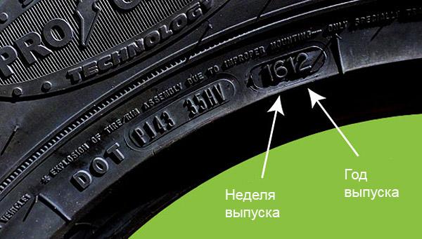Неделя и год (дата) выпуска шины